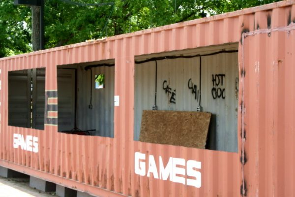 These old train cars are being repurposed and will be ready to go on opening day (June 27th) with games and snack.